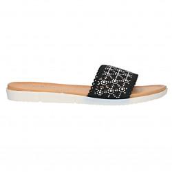 Papuci negri, dantelati, pentru femei