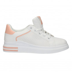 Sneakers albi, insertii roz, pentru femei