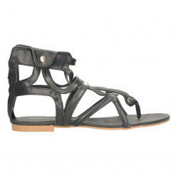 Sandale dama, inalte, negre, in stil roman