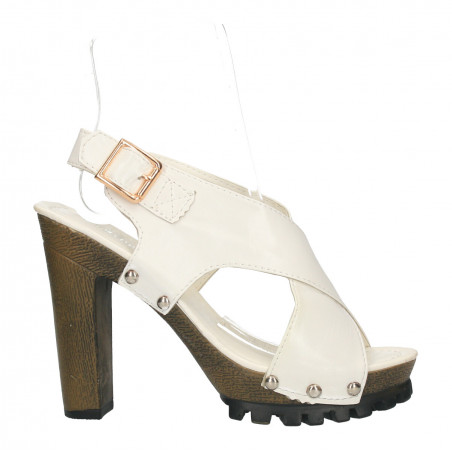 Sandale albe, platforma, toc masiv