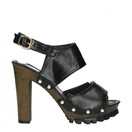 Sandale negre, platforma, si toc masiv