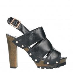 Sandale negre, cu platforma si toc masiv