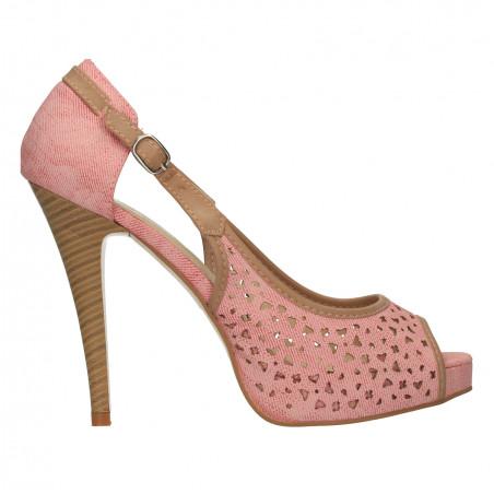 Pantofi femei decupati, culoare fuxia