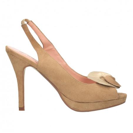 Sandale femei, imitatie velur, cu ornament