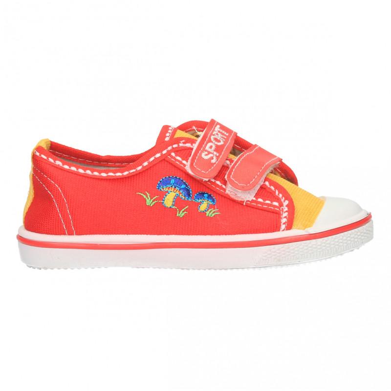 Tenisi copii, combinatie de culori, rosu si galben