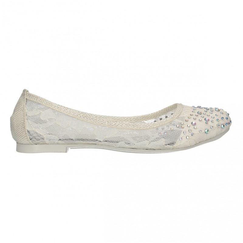 Balerini albi, dantela, glami, cu pietre