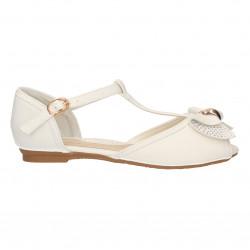 Sandale albe, cu strasuri, pentru fete