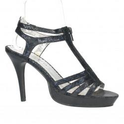 Sandale negre, platforma mica, toc inalt