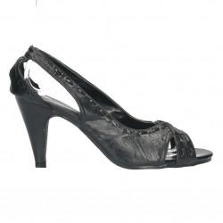 Sandale elegante, negre, toc mediu