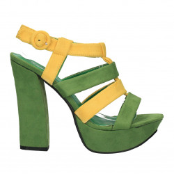 Sandale verzi, platforma, toc block