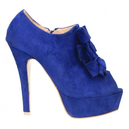 Sandale albastru royal, cu funde