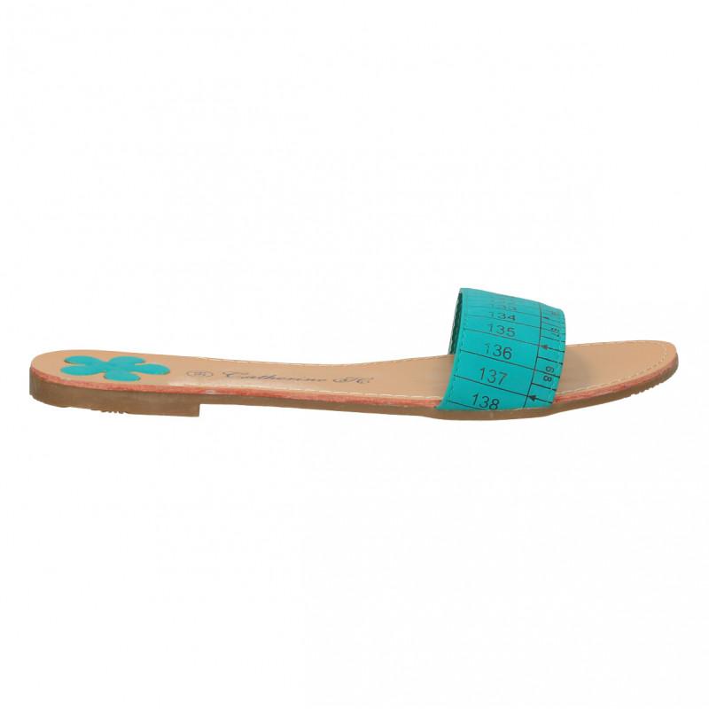 Papuci turcoaz, model centimetru