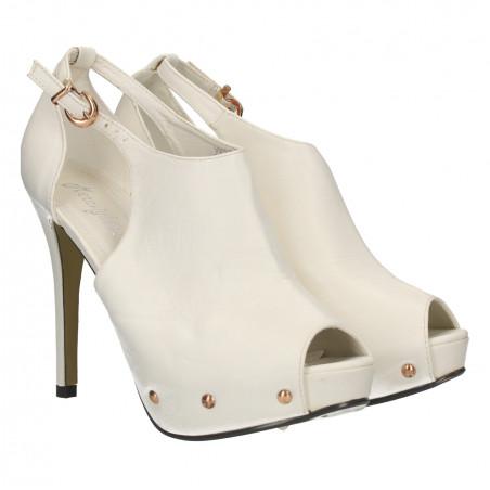 Sandale albe, platforma ascunsa