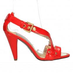 Sandale rosii, de lac, toc inalt