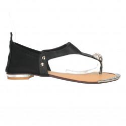 Sandale infradito, negre, cu pietre