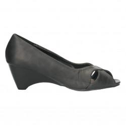 Pantofi decupati, negri, cu platforma