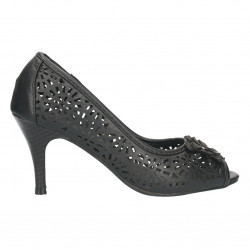 Pantofi cu toc, negri de vara, stil elegant
