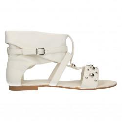 Sandale albe, inalte, fara toc