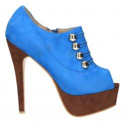 Sandale albastru blue ciel cu platforma si tinte argintii
