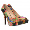 Pumps cu platforma, model floral