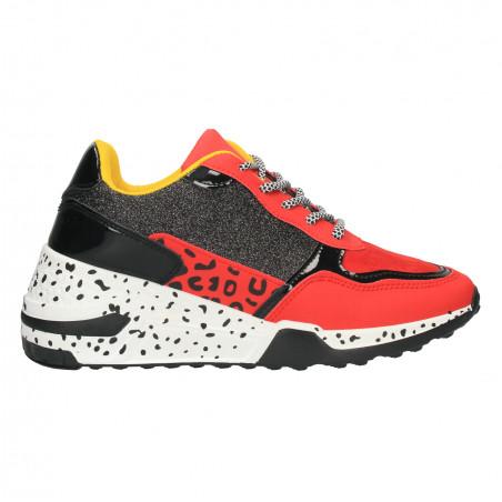 Sneakers rosu cu negru, animal print