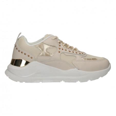 Sneakers dama, bej, cu decor auriu