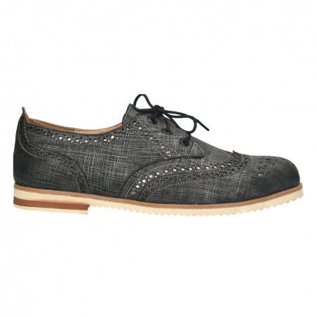 Pantofi gri, dama, stil Oxford