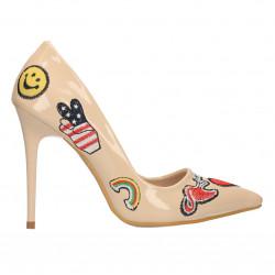 Pantofi stiletto, cu imprimeu modern