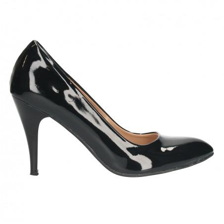 Pantofi stiletto, lac negru de gala