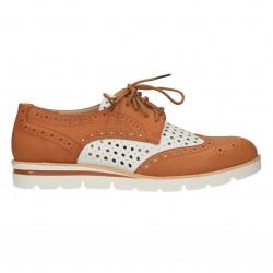 Pantofi Oxford, cu perforatii, maro cu alb