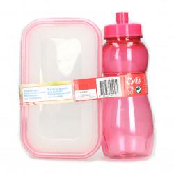 Set lunch box, plastic, caserola si sticla