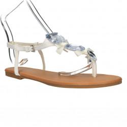 Sandale albe, dama, infradito, cu pietre