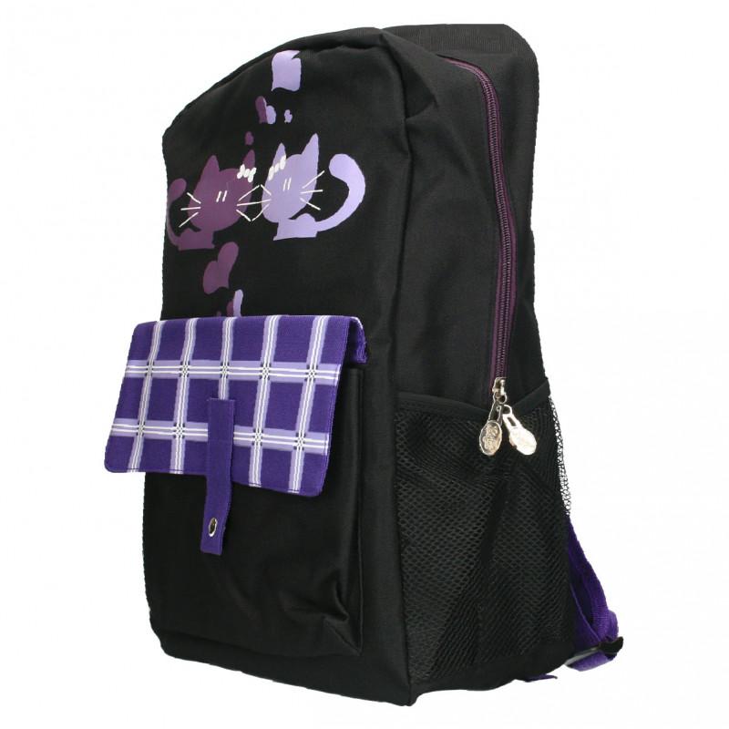 Rucsac dama, modern, negru cu violet
