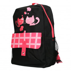 Rucsac pentru adolescenti, negru cu roz