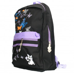 Rucsac fluturi, negru cu violet