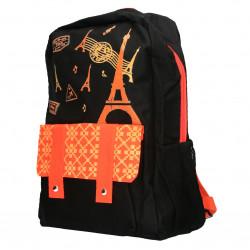 Rucsac model Paris, negru cu portocaliu