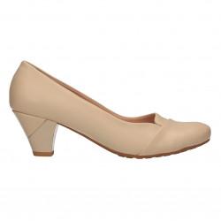 Pantofi eleganti, bej, cu toc mic