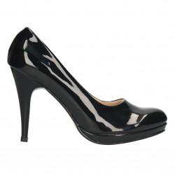 Pantofi eleganti, de lac negru, toc inalt