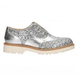 Pantofi argintii, cu sclipici, fara siret