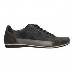 Sneakers barbati, negri, piele naturala