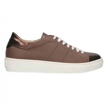 Sneakers dama, insertii maro metalic