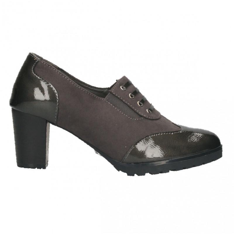 Pantofi clasici, cu toc mic, culoare gri