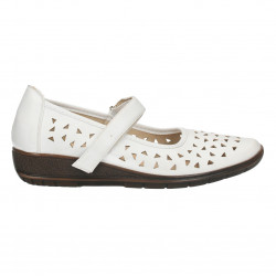 Pantofi dama, albi, de vara, cu perforatii