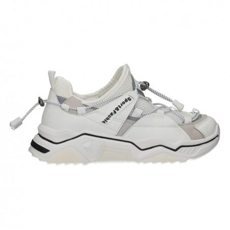 Sneakers albi, talpa inalta, pentru femei