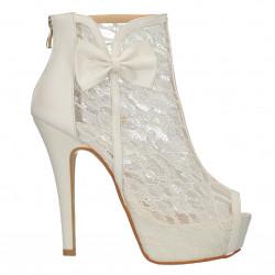Pantofi dantela alba, platforma, toc inalt
