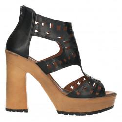 Sandale negre, platforma si toc bloc