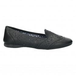Pantofi din piele, casual, negri, perforatii