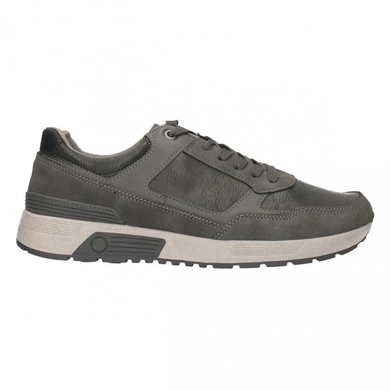 Sneakers barbatesti, gri, piele ecologica