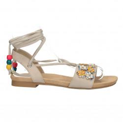 Sandale bej, cu aplicatii florale