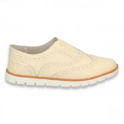 Pantofi casual, din piele naturala, bej, pentru femei